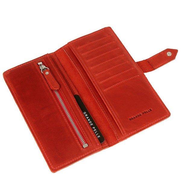 2972e58ba3a2 Женское кожаное портмоне красного цвета Grande Pelle